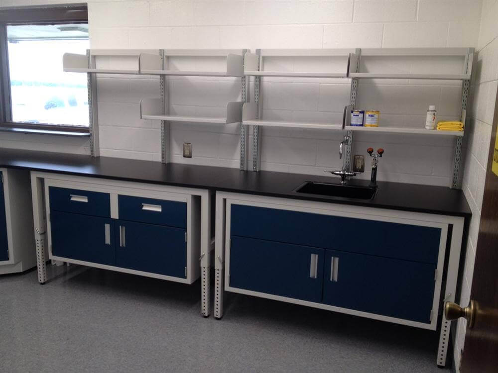 Adjustable Height Lab Table With Upper Shelving Psa