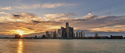 Skyline of Detroit, MI