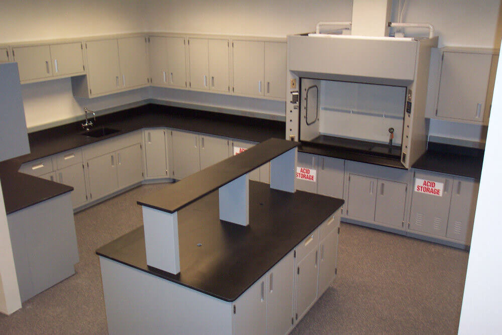 island upper shelf fume hood