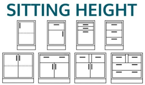Drawings of Sitting Height Cabinets