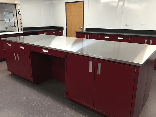 Stainless Steel Lab Counter on Red Cabinet