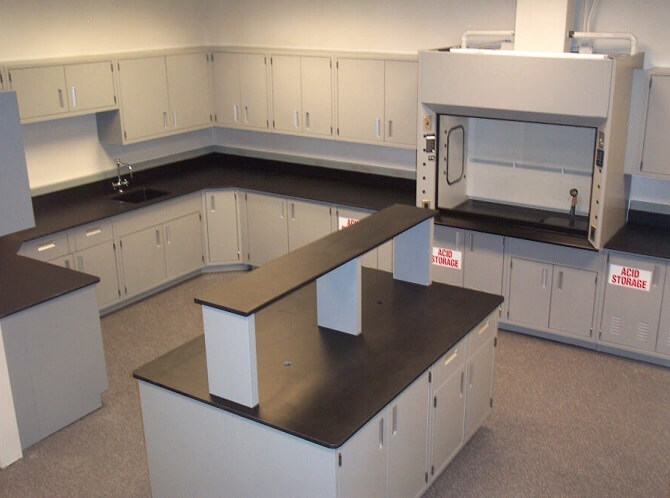 Modular Steel Lab Island and Cabinets